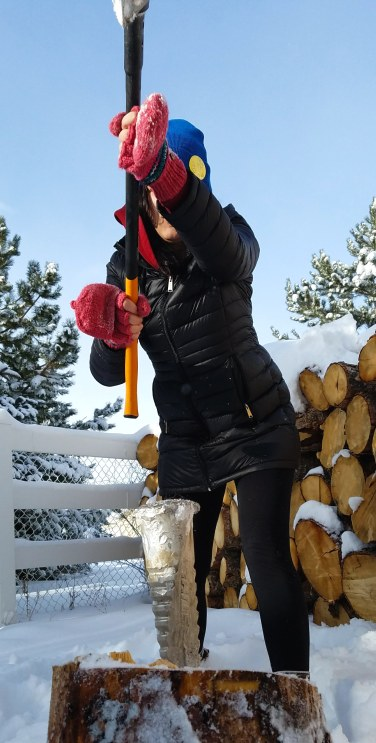 """At first, I thought chopping wood would be a simple, cathartic process. In movie scenes like """"Get Out"""" or """"Amityville Horror"""" (so often a foreshadowing scene in a horror movie), you never see the splitting process. The chopper cuts right to the chase and always seems to need only a single strike to accomplish the task."""