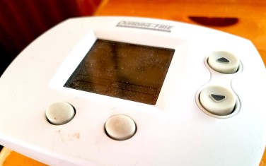By comparison, a thermostat summons up the fuel you need for warmth nearly instantly. Instead of gathering, chopping, drying, transporting, building, you simply press a button. The up arrow triggers images of fracking rigs and coal mines scarring mountains, oil spills, and invisible carbon dioxide collecting in our atmosphere.